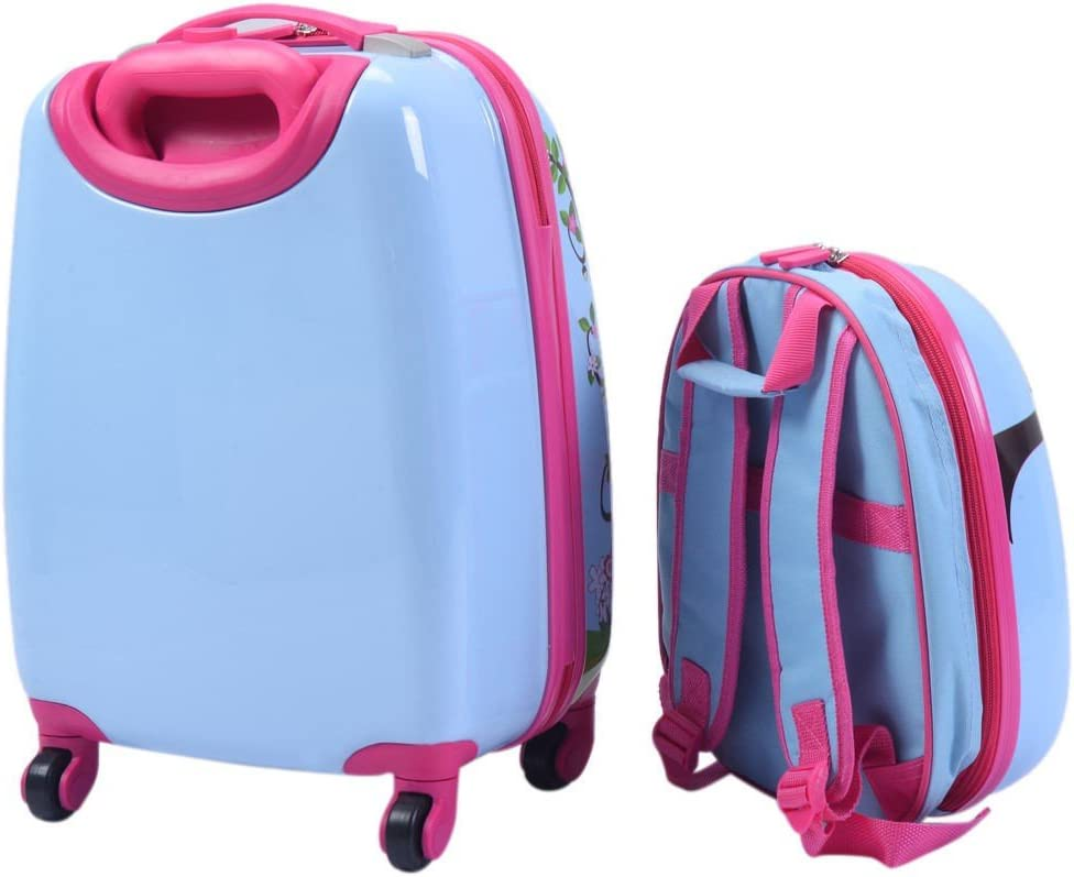 Blue ABS Kids Suitcase Backpack Luggage Set Travelling and Outdoor Activities Girly Durable Stylish Design Bag