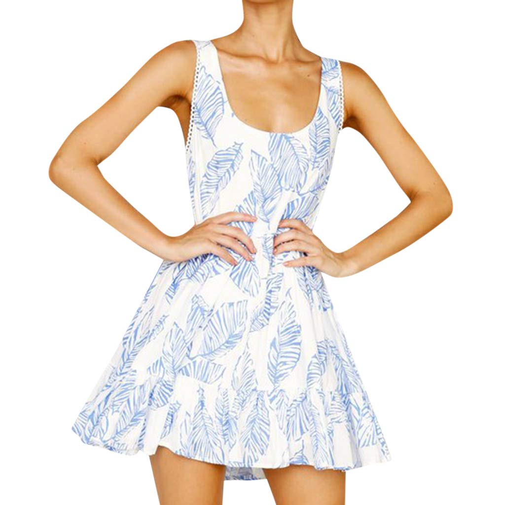 Women Sexy Sleeveless Summer Holiday Leaves Printing Off Shoulder Ruffles Half Sleeve Princess Dress (Blue,M)