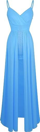 Angel-fashions Vestito da cocktail della cinghia di spaghetti V Impero Lace collo delle donne