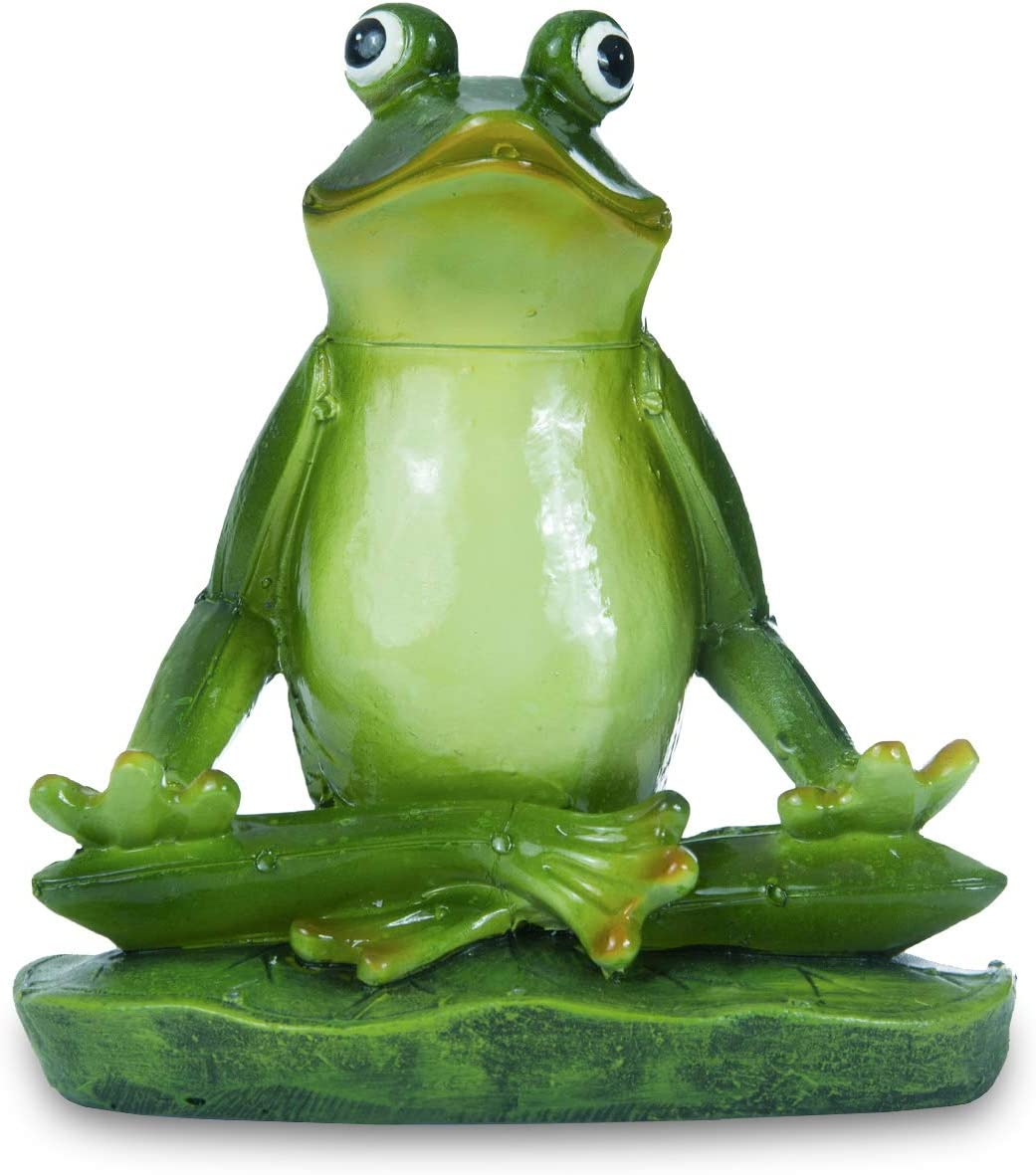 Jy.Cozy Meditating Zen Yoga Frog Garden Decorations Statues Indoor Outdoor Resin Figurine for Yard Home Garden Patio and Office 6.3 Inch Tall