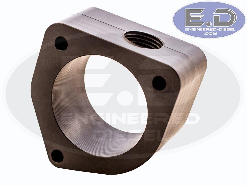 Present Thermostat Spacer for Coolant Bypass E.D Billet Black Anodized 24v Cummins 5.9L /& 6.7L 1998.5