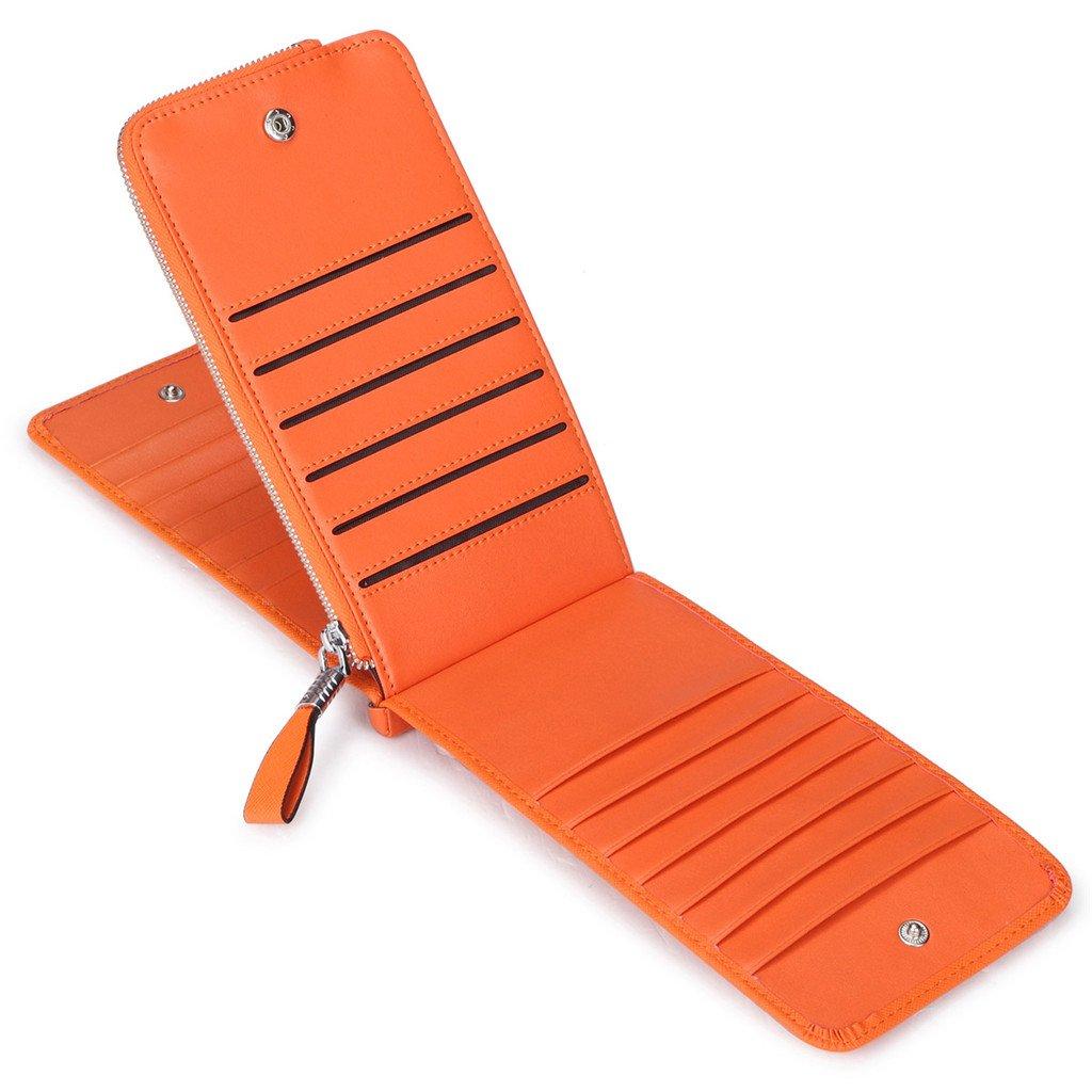 JEEBURYEE Women's Genuine Leather Multi Credit Card Holder Wallet RFID Blocking Long Bifold Clutch Wallet Ladies Purse with Zipper Pocket Orange by JEEBURYEE (Image #4)