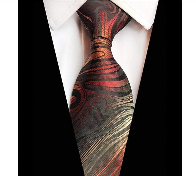 ALHZ Tie-Mens Corbatas Corbatas Corbata clásica floral a rayas ...