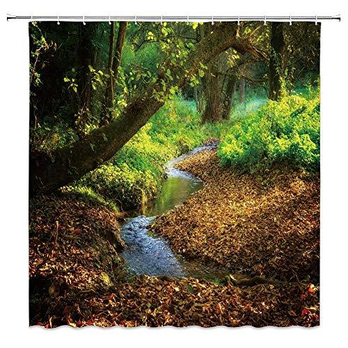 dachengxing Rural River Shower Curtain Autumn Nature Decor Creek Flowing Along Wetland Dense Forest Fallen Leaves Waterproof Brown Green Fabric Bathroom Hooks Included 70x70 - Wetlands Advantage Fabric