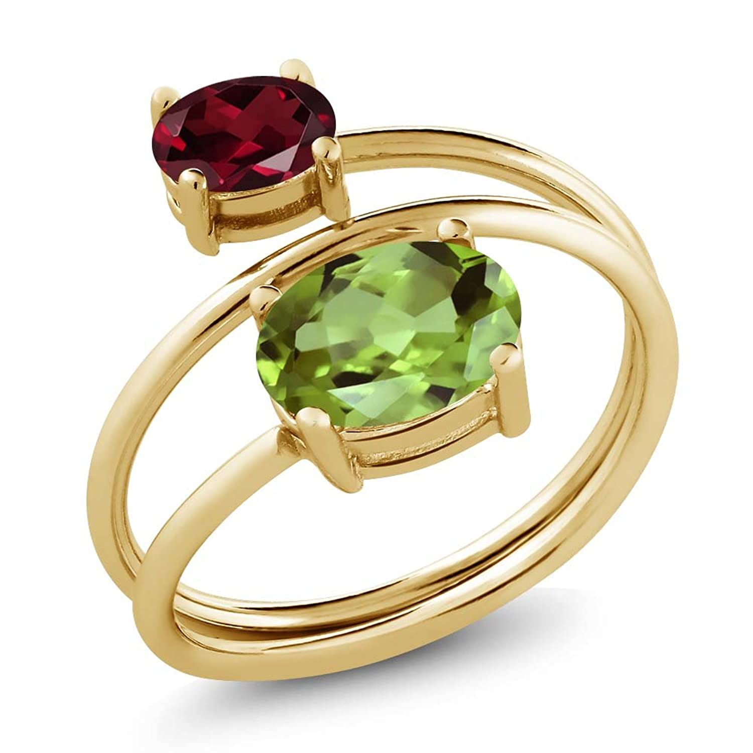 2.33 Ct Green Peridot Red Rhodolite Garnet 18K Yellow Gold Plated Silver Open Ring