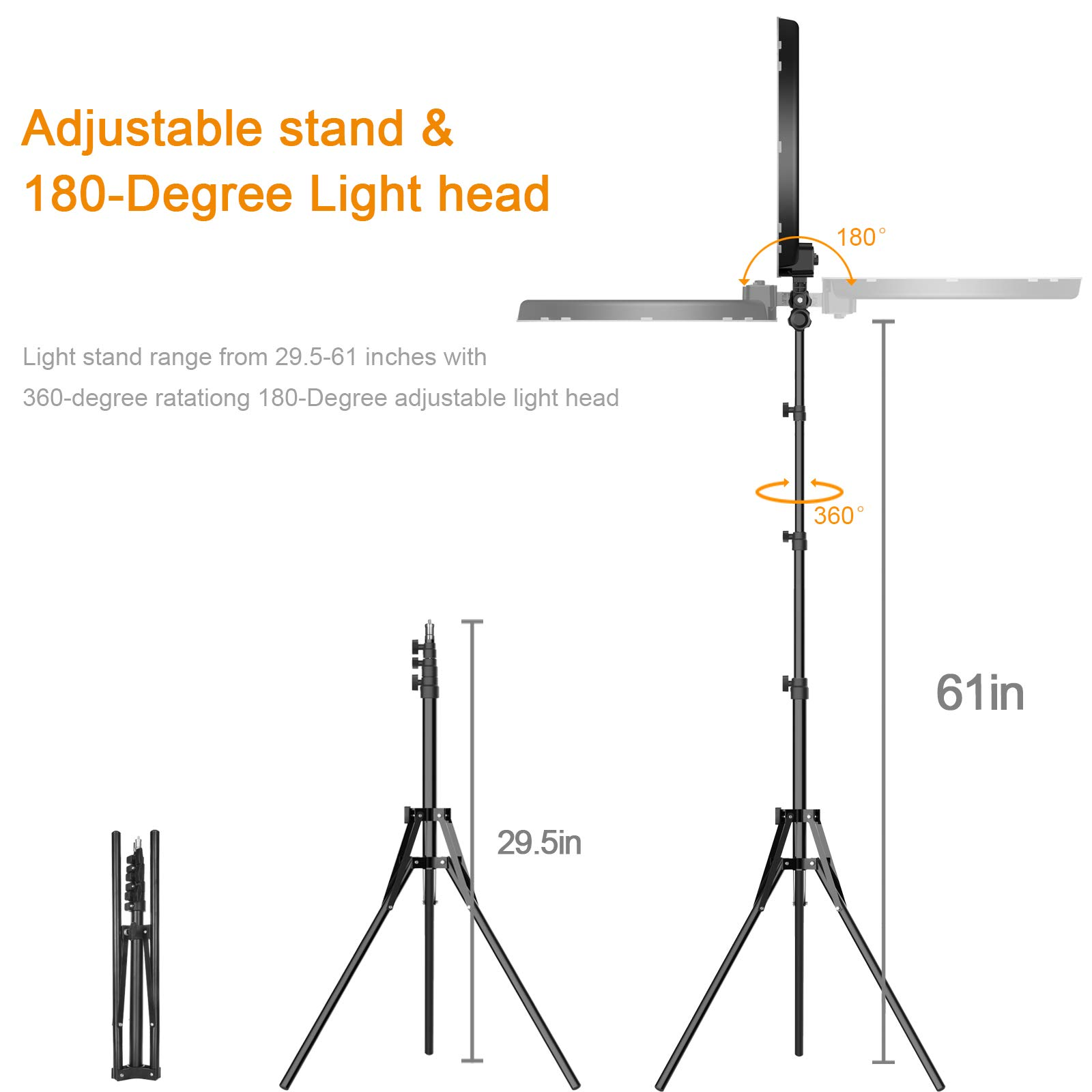 Ring Light Kit:18'' 48cm Outer 55W 5500K Dimmable LED Ring Light, Light Stand, Carrying Bag for Camera,Smartphone,YouTube,Self-Portrait Shooting by IVISII (Image #7)