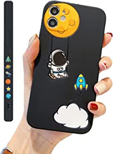 YKCZL Compatible with iPhone 12 Pro Max Case for Fashion Astronaut Cartoon Pattern for Boys Girls Woman,Soft Silicone Shockproof Protective Case for iPhone 12 Pro Max(Swing)