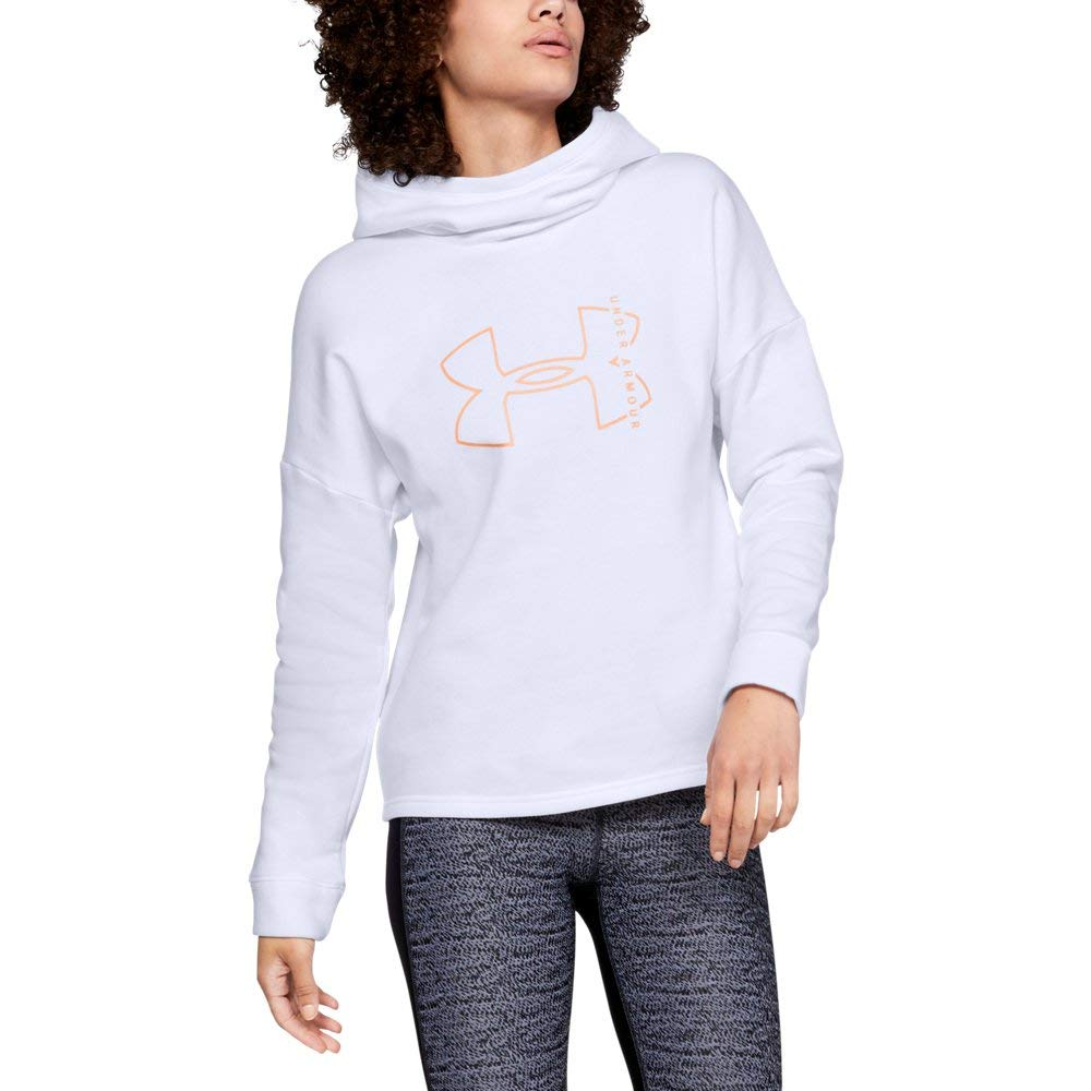 Under Armour Women's Rival Fleece Big logo hoodie, White (100)/Peach Horizon, X-Small