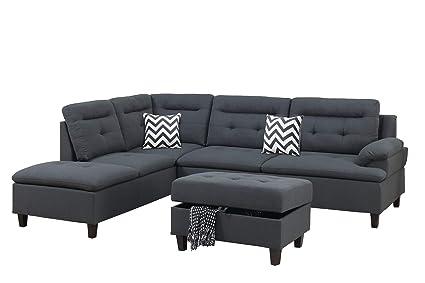 Amazon.com: Bobkona Sectional Sofa Set Charcoal: Kitchen ...
