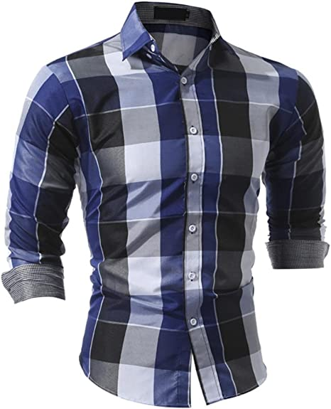 moonuy hombre manga larga corte Slim enrejado solapa camiseta ...