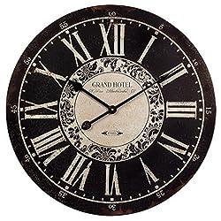 24 Black & White Vintage-Style Round Roman Numeral Wall Clock