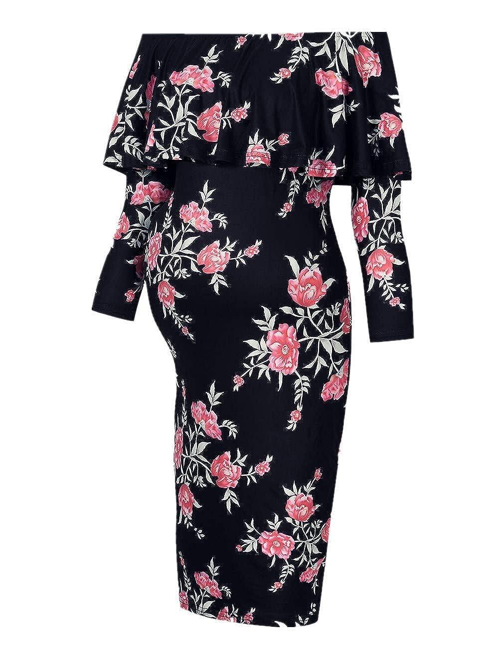 MissQee DRESS レディース B07GBQHWCH Small|Black Flower-long Black Flower-long Small