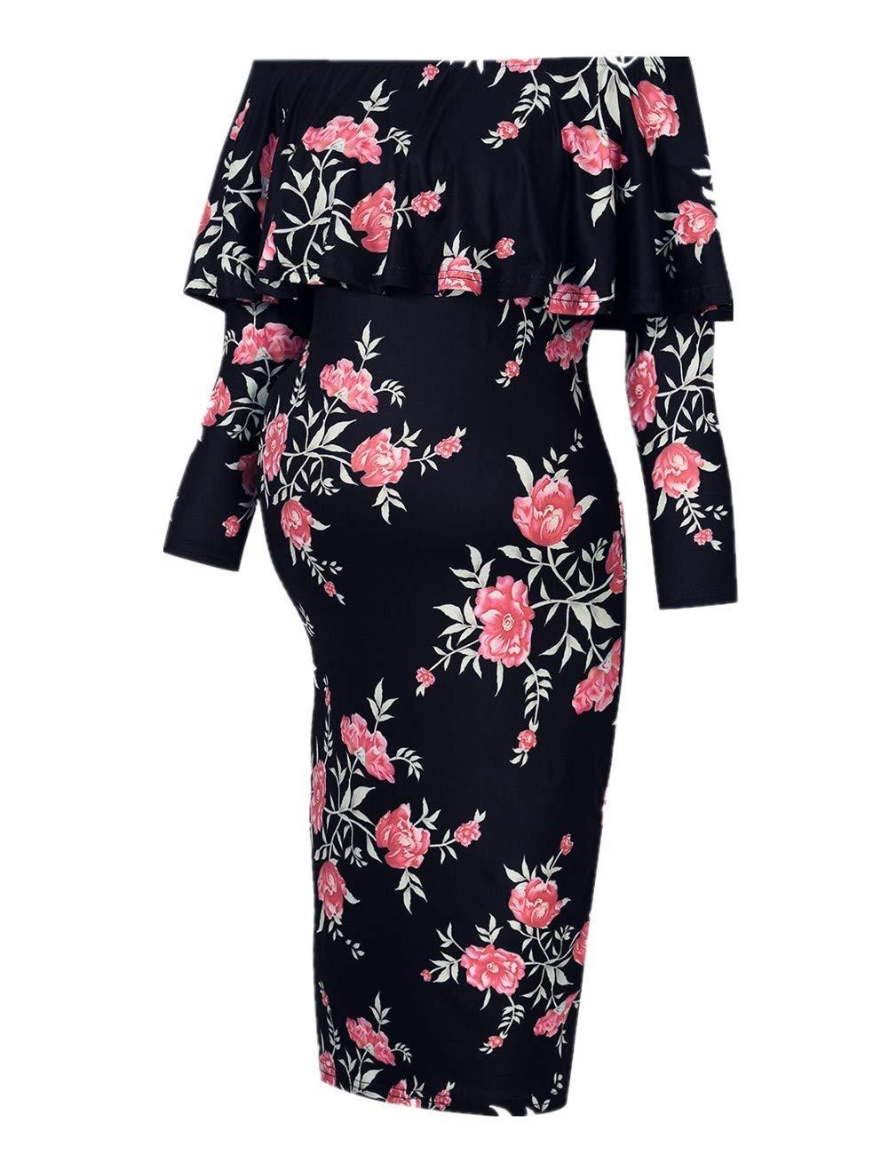MissQee Women's Maternity Dress 3/4 Sleeve Off Shoulder Casual Maxi Dress (L,Black Flower-Long)
