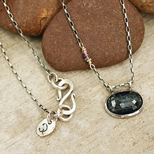 Multi Silver Pendant Sapphire (Oval faceted Kyanite pendant necklace in silver bezel setting with multi sapphire on the side and oxidized sterling silver chain)