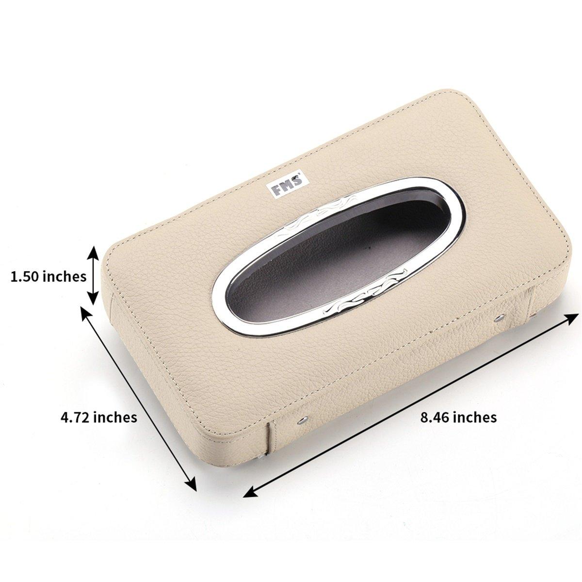 FMS Car Leather Tissue Case Holder for Sun Visor /& Seat Back with Tissue Refill Beige