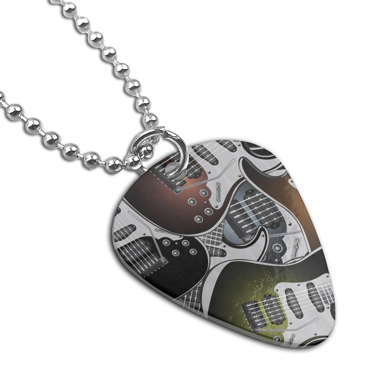 Custom Electric Guitars Rock Music Military Army Pendant Tag Necklace Guitar Picks For Mens Pets