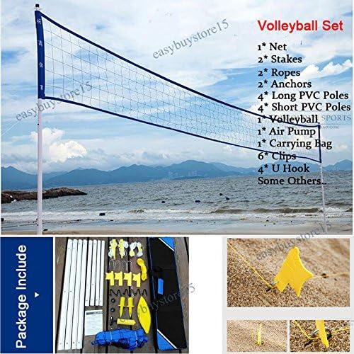 sccsport プロ ビーチ バレーボール ネットシステム ポータブルセット 調節可能なポストボール ハンドポンプ