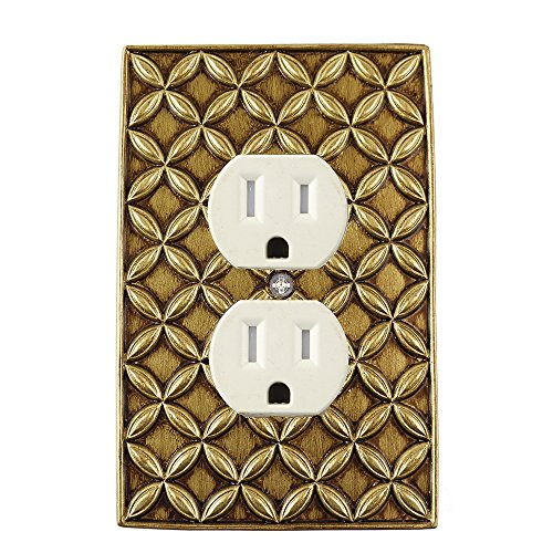 Meriville Colfax Electrical Outlet Wall Plate Cover, Hand Painted Single Duplex receptacle outlet cover, Antique (Antique Outlet Covers)