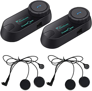 2-3Riders Pairing TCOM-SC Motorcycle Bluetooth Helmet Intercom 800M Full Duplex Wireless Interphone Headphones for Motorbike Skiing Handsfree Waterproof LCD Screen 2 Pack Support FM Radio