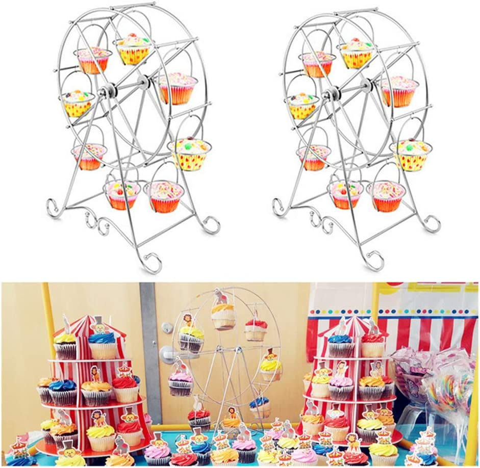Hofumix Ferris Wheel Cupcake Holder Carnival Decorations Metal Dessert Serving Tray 8 Cupcakes Display Stands for Circus Party Birthday Wedding 17inch 1Pack