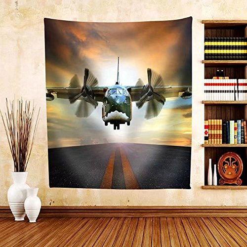 Gzhihine Custom tapestry Old Military Container Plane Approach to Asphalt Airport Runways Use for Air and Cargo Transport Logistic Industry - Fabric Tapestry Home Decor - Chicago Airport Outlet
