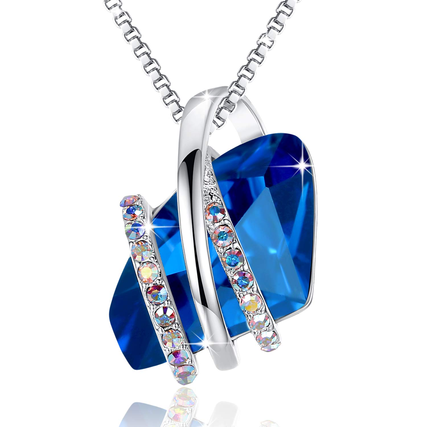 Leafael Wish Stone Pendant Necklace Made Swarovski Crystals (Sapphire Blue Silver Tone) Gifts Women Mother Daughter September Birthstone Jewelry by Leafael