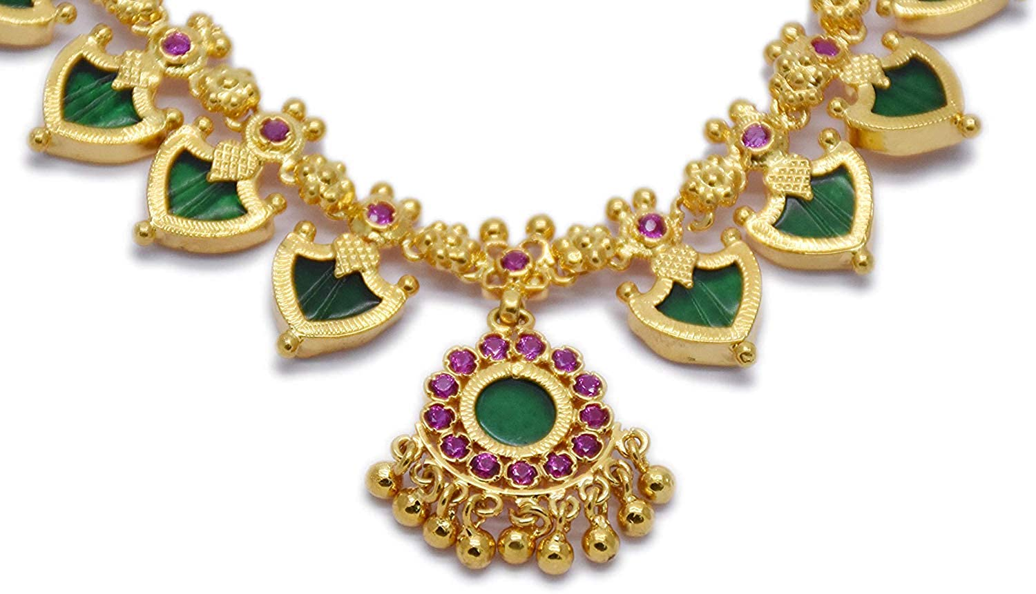 Buy RFJ Kerala Traditional and Ethnic Three Katta Green Palakka Adjustable  Length Necklace with Small Ruby Stone for Women at Amazon.in