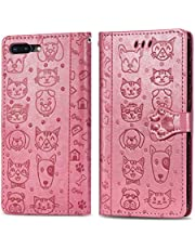 Miagon PU Leather Wallet Case for iPhone 8 Plus/7 Plus,Cat and Dog Animal Design Embossing Flip Stand Function Cover with Card Slots Magnetic Buckle and Lanyard,Pink