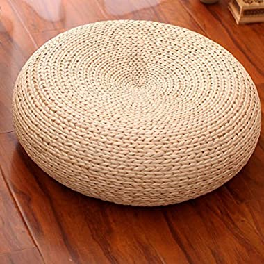 Handcrafted Eco-friendly Breathable Padded Knitted Straw Flat Seat Cushion/Straw futon cushion Diameter 40cm(15.75in)
