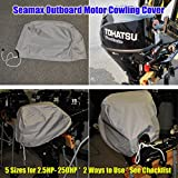 Seamax Outboard Motor Engine Cowling Cover with 5 Sizes and Checklist Enclosure for 2.5HP - 150HP