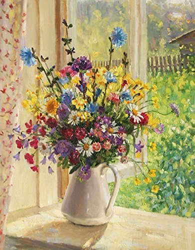 "eGoodn Diamond Painting Art Kit DIY Cross Stitch by Number Kit DIY Arts Craft Wall Decor, Full Drill 14.2"" by 18.1"", Flower of Summer, No Frame by eGoodn"