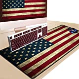 Easy 99 31.5 x 11.8 Inch American Flag Large Mouse Pad Stitched Edges Mousepad Non-Slip Rubber Mouse Mat Gaming Keyboard Mat