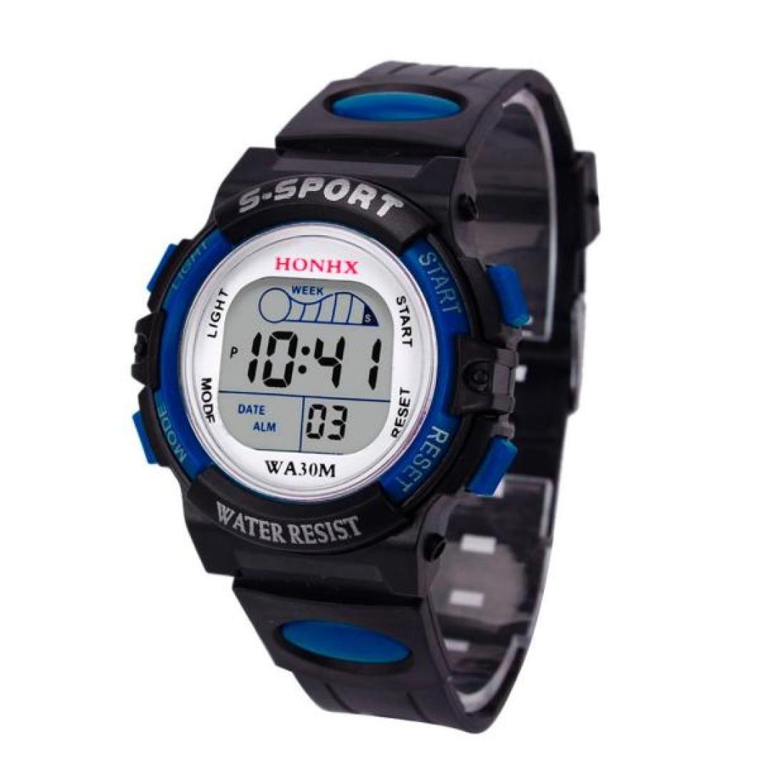 Hemlock Childrens Boys Waterproof LED Digital Calendar Watches Silicone Alarm Sports Wrist Watch Blue