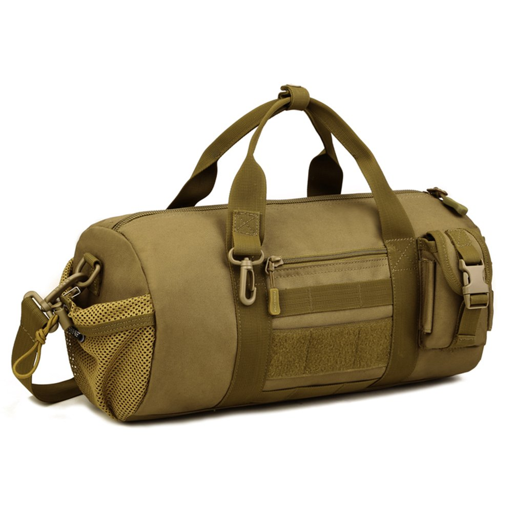 Protector Plus Tactical Cylinder Packs MOLLE Handbag Gear Military Travel Carry On Shoulder Duffle Bags Small Valise (Coyote Brown)