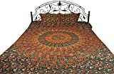 Bedspread from Pilkhuwa with Printed Giant Mandala - Pure Cotton with Pillow Covers Printed with Veg - Color Green Gables Color