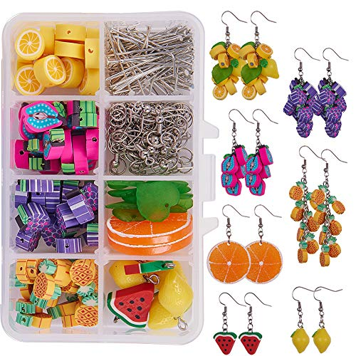 SUNNYCLUE 1 Box DIY Make 7 Pairs Polymer Clay Cluster Fruit Dangle Earring Making Kits - Polymer Clay Fruit Beads, Cable Chains, Earring Hooks (Polymer Clay Best Friend Charms)