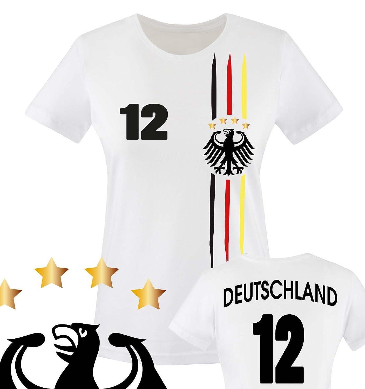 Maillot de football pour femme, imprimable-Personnalisable-Coupe du Monde / Championnat d'Europe / Allemagne-Col rond, T-shirt pour femme - blanc-maillot de l'Allemagne entailles diverses