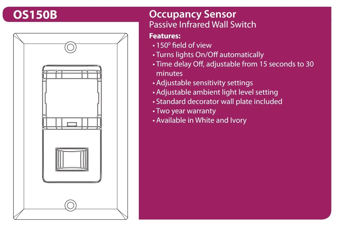 Nicor Lighting Wall Mount Occupancy Sensor Ivory Os150biv Delayed Off Light Switch