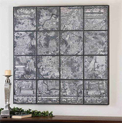 Ambient Black Satin Wood Frame With Antique Mirror Mounted On Front A Map Image Is Printed On Back Of The Antique Mirror Wall Art by Ambient