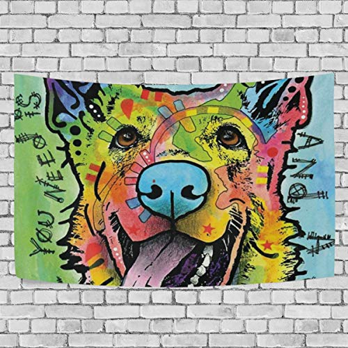 DOPKEEP Love and Dog German Shepherd Tapestry Tapestries Decor Wall Art for Home Bedroom Living Room Dorm 60 x 40 Inches