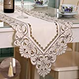 HOLY HOME Table Runner 100% Polyester Embroidery Rose Pastoral Cloth Art Home Décor Gray/Beige 16''x106''