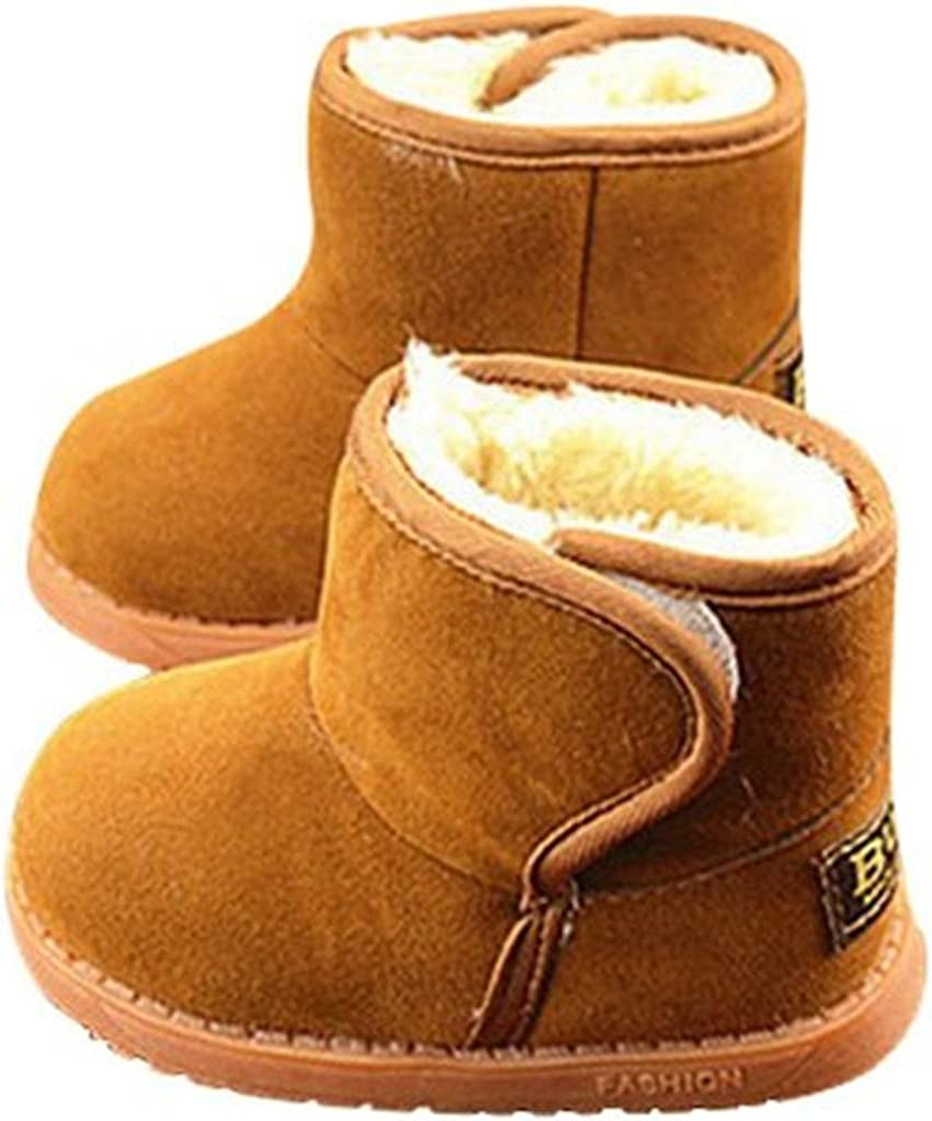 JELEUON Baby Little Boy Girl Pure Thicken Fur Winter Snow Boots,Black