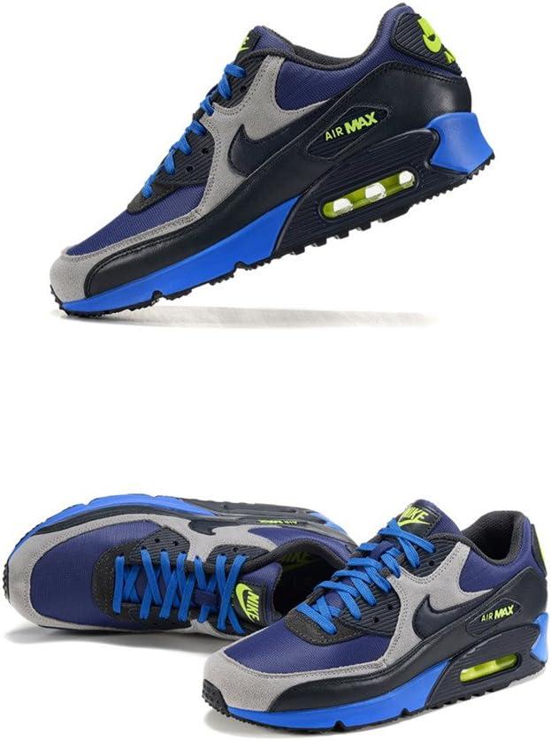 Hombre Air Max 90 zapatillas de running transpirable camino de calzado zapatillas acolchado Trail Road Racer para correr Run esencial piel azul negro, hombre, azul y negro: Amazon.es: Deportes y aire libre