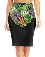BaodaooTropical Palm Leaves Design Love Slim Vintage Pencil Skirts For Women High Waist Pencil Skirt Short Fitted Mini Skirt Bundle Packs