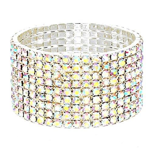 (Affordable Wedding Jewelry Sparkling Nine Line AB Rhinestone Crystal Silver Stretch Bracelet)