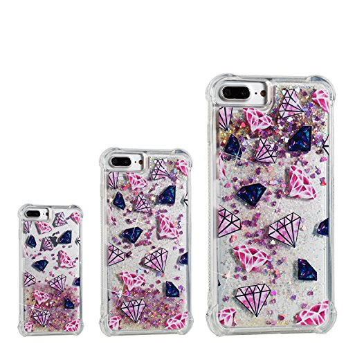 iPhone 8 Plus Case,iPhone 7 Plus Case,DAMONDY 3D Cute Pattern Bling Liquid Glitter Hybrid Shockproof Bumper Floating Quicksand Diamond Flowing Clear Soft TPU Case for iPhone 7/8 Plus-water