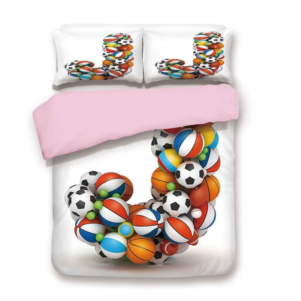 Pink Duvet Cover Set,Full Size,Letter J Capitalized Sporting Goods Basketball Football Pigskin Fun Games Design,Decorative 3 Piece Bedding Set with 2 Pillow Sham,Best Gift for Girls Women,Multicolor
