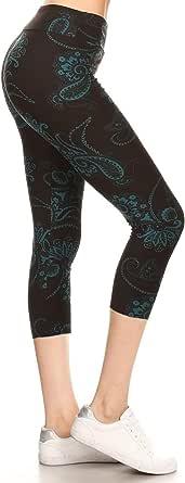 Leggings Depot High Waist Women's Popular Print Yoga Capri Leggings