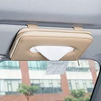 U&M Car Tissue Box Holder, Premium Leather Zipper Sun Visor Napkin Holder Backseat Tissue Case Car Accessories Beige