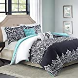 Better Homes and Gardens Damask 5-Piece Bedding Comforter Set, Black - KING by Better Homes and Gardens